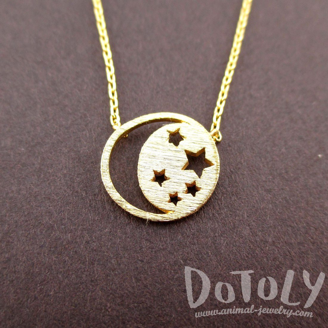 Celestial Crescent Moon and Stars Pendant Necklace in Gold | DOTOLY
