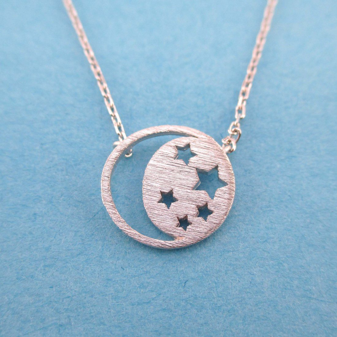Celestial Crescent Moon and Stars Cut Out Pendant Necklace in Silver