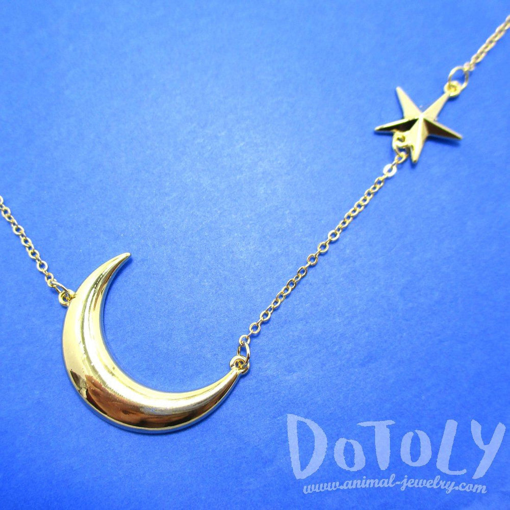 Celestrial Crescent Moon & Stars Charm Necklace in Gold