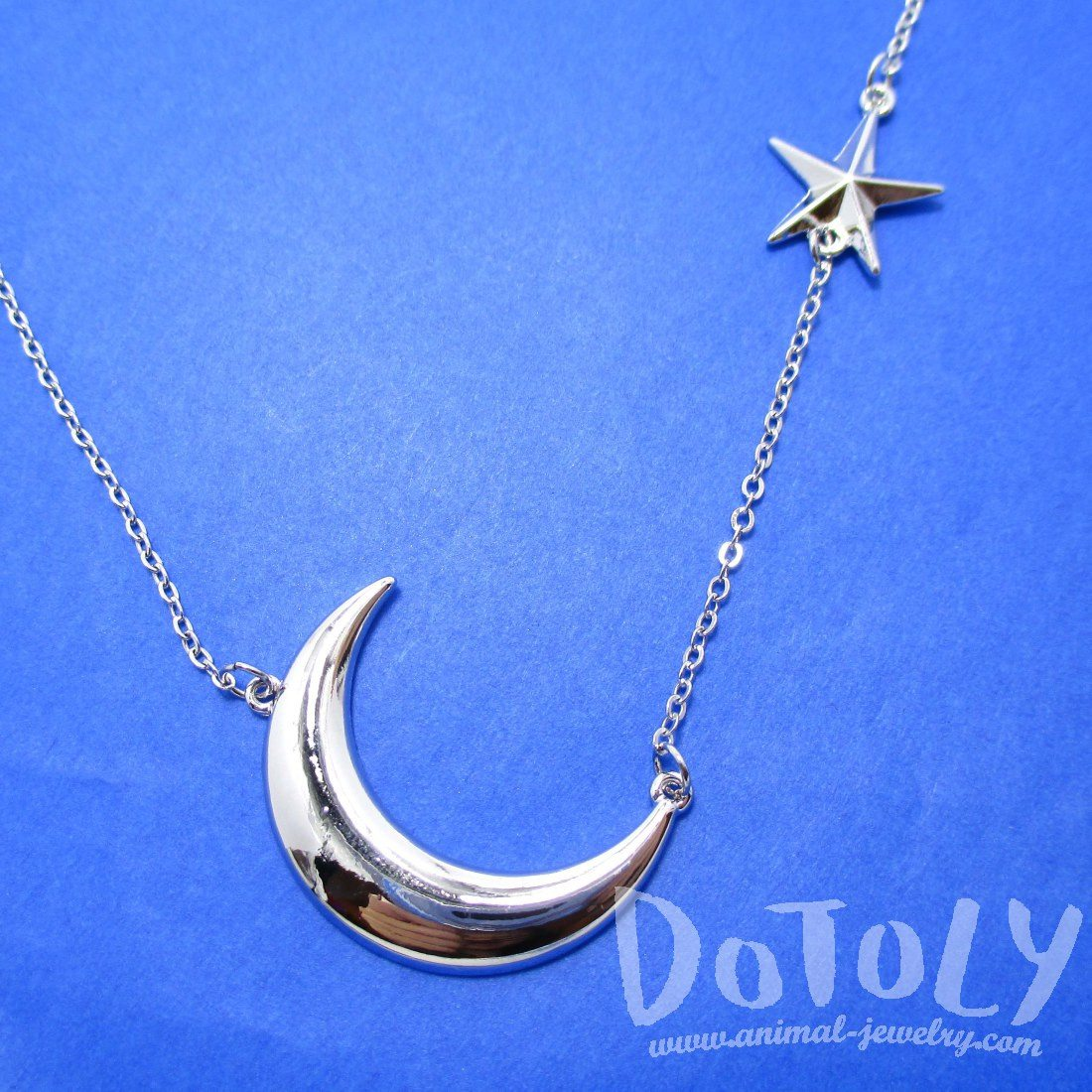 Celestrial Crescent Moon and Stars Necklace in Silver