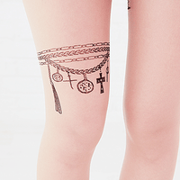 Chain Pendant and Angle Wings Feather Sheer Nude Tattoo Tights for Women