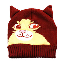 Kitty Cat Face Shaped Animal Themed Beanie in Maroon