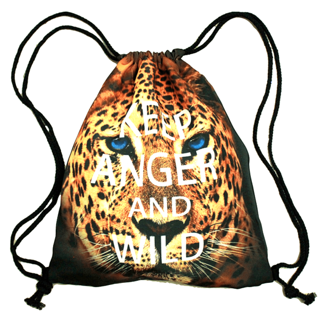 Cheetah Leopard Jaguar Face Animal Print Drawstring Cinch Backpack Bag