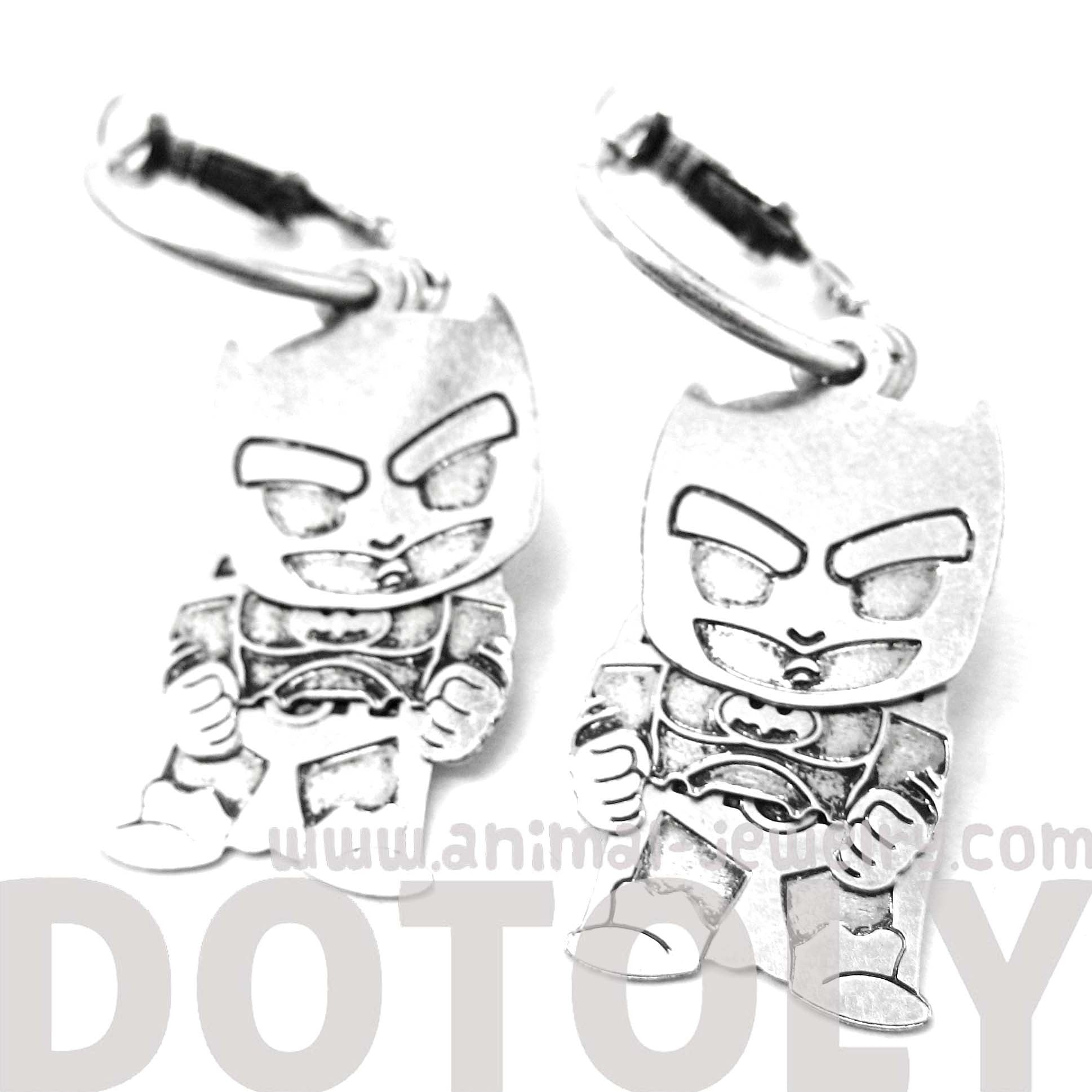 Chibi Batman Shaped Dangle Hoop Earrings in Silver | Animal Jewelry