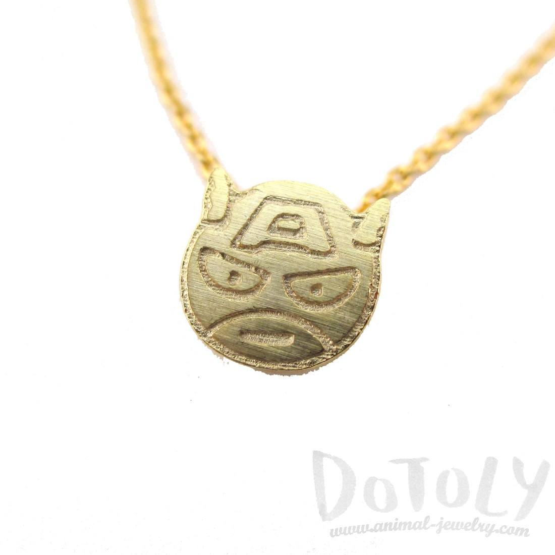 Chibi Captain America Shaped Charm Necklace in Gold | DOTOLY