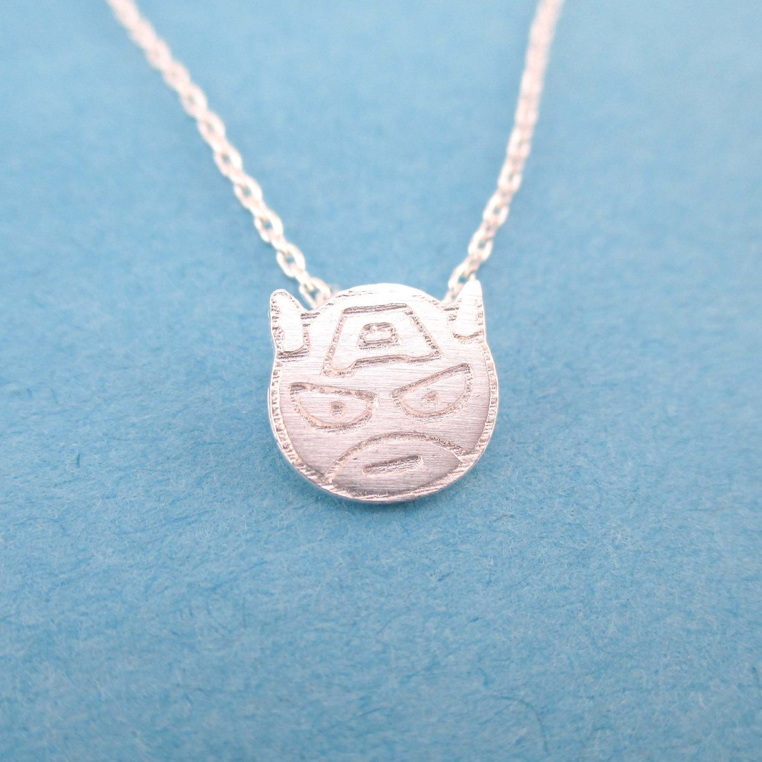 Chibi Captain America Shaped Charm Necklace in Silver | DOTOLY