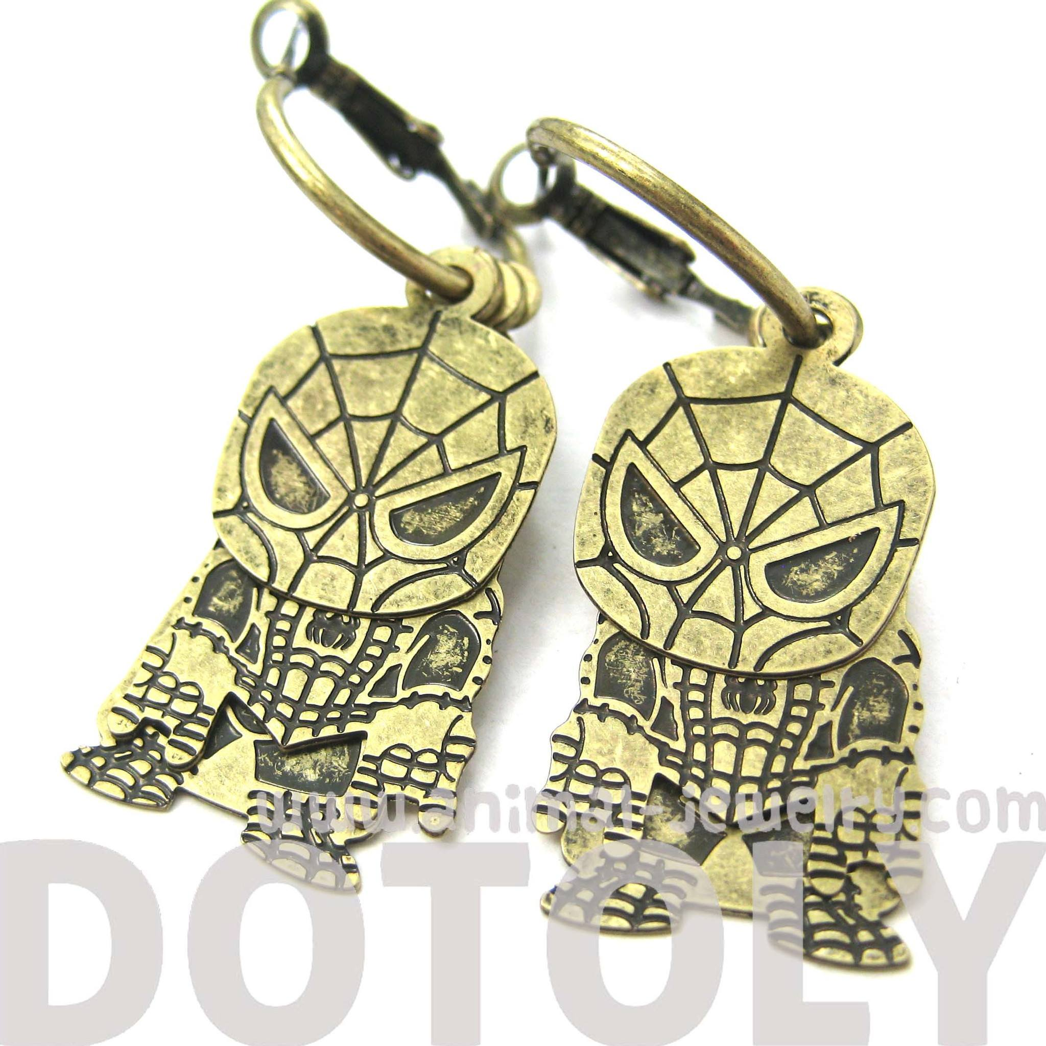 chibi-spiderman-shaped-dangle-hoop-earrings-in-brass-dotoly