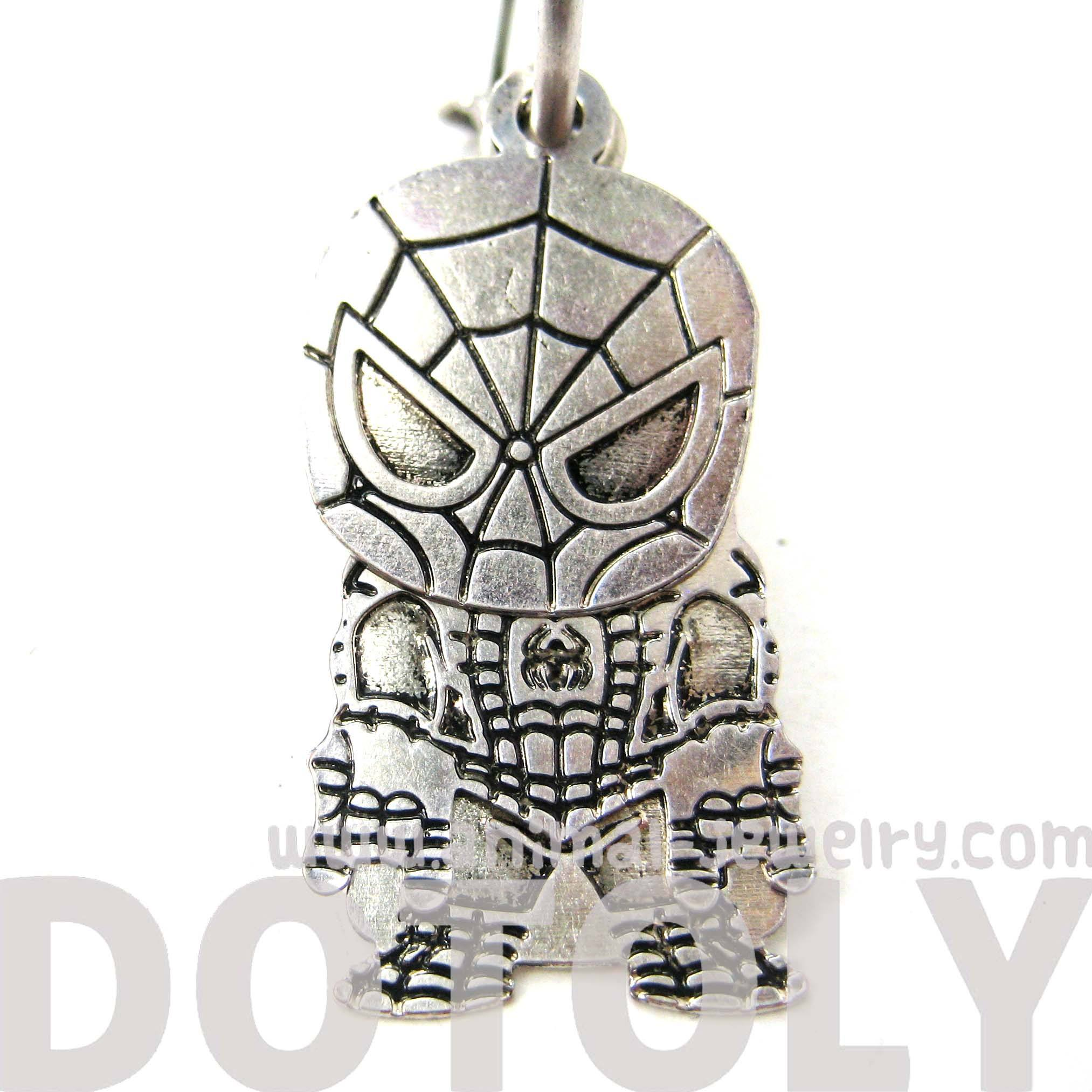 Chibi Spiderman Shaped Dangle Hoop Earrings in Silver | DOTOLY