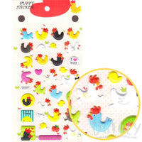 Chicken Hen Baby Chick Shaped Puffy Sticker Seals