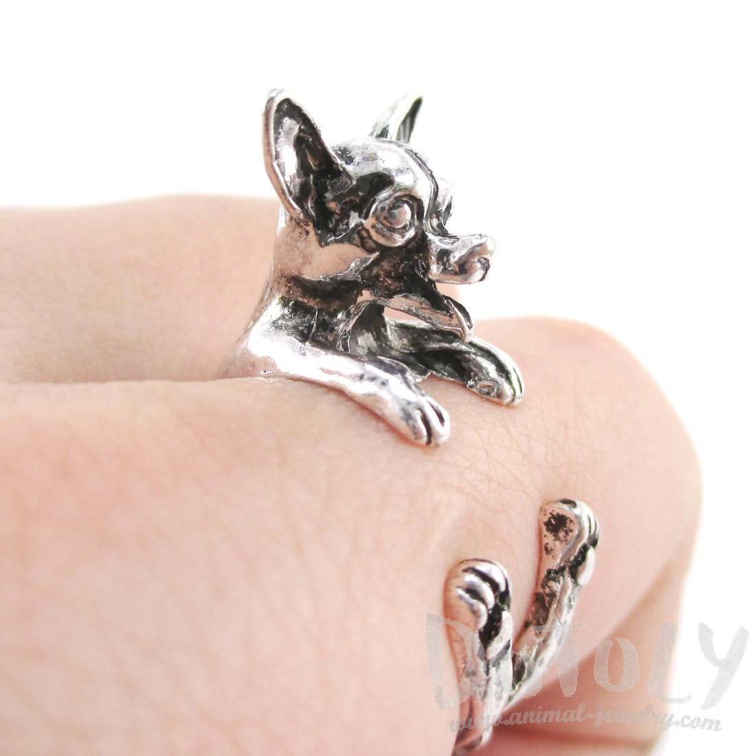 Chihuahua Dog Shaped Animal Wrap Around Ring in Silver
