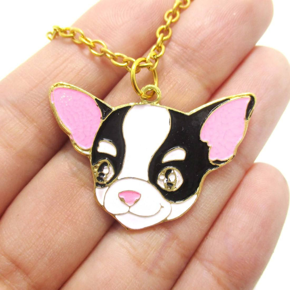 Cute Chihuahua Puppy Dog Shaped Animal Pendant Necklace