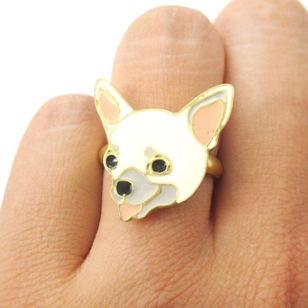 Chihuahua Puppy Shaped Limited Edition Adjustable Animal Ring in White