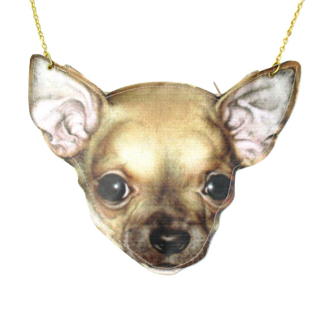 Chihuahua Puppy Head Shaped Vinyl Cross Body Bag for Dog Lovers