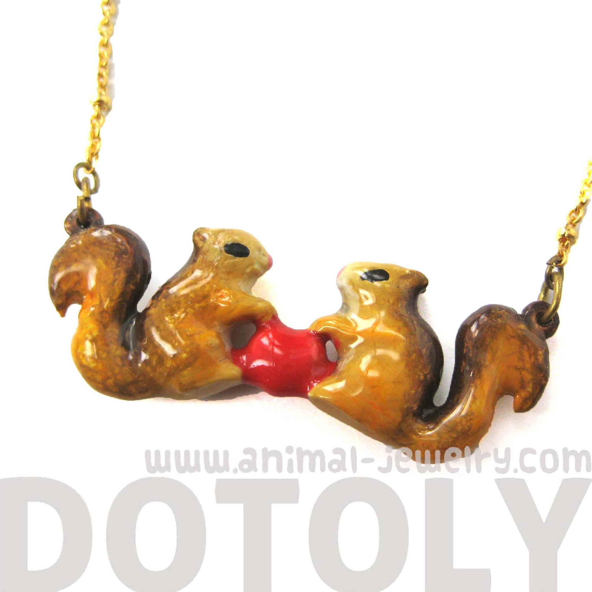 chipmunk-squirrel-heart-shaped-animal-enamel-pendant-necklace-limited-edition