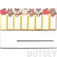Chipmunk Squirrels and Apples Shaped Memo Post-it Index Bookmark Tabs