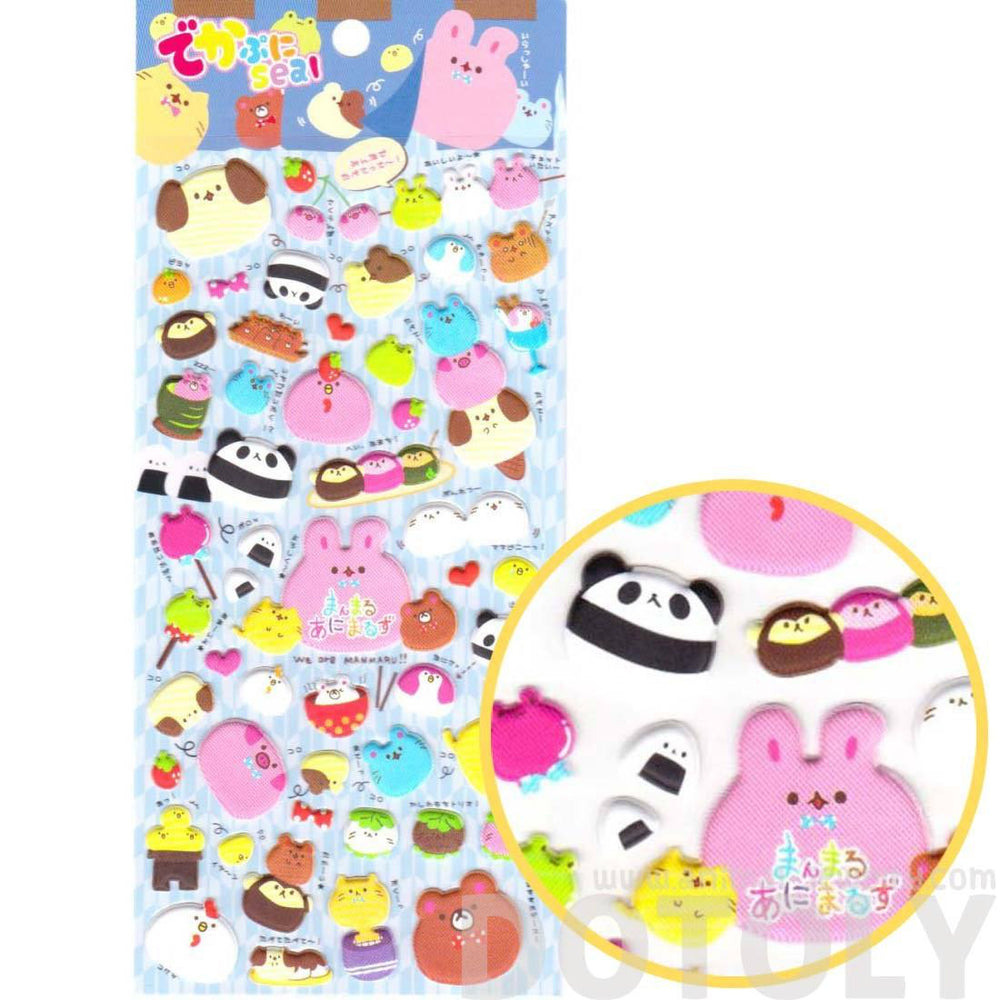 Chubby Bunny Bear Cat Dog Panda Animal Spongy Stickers