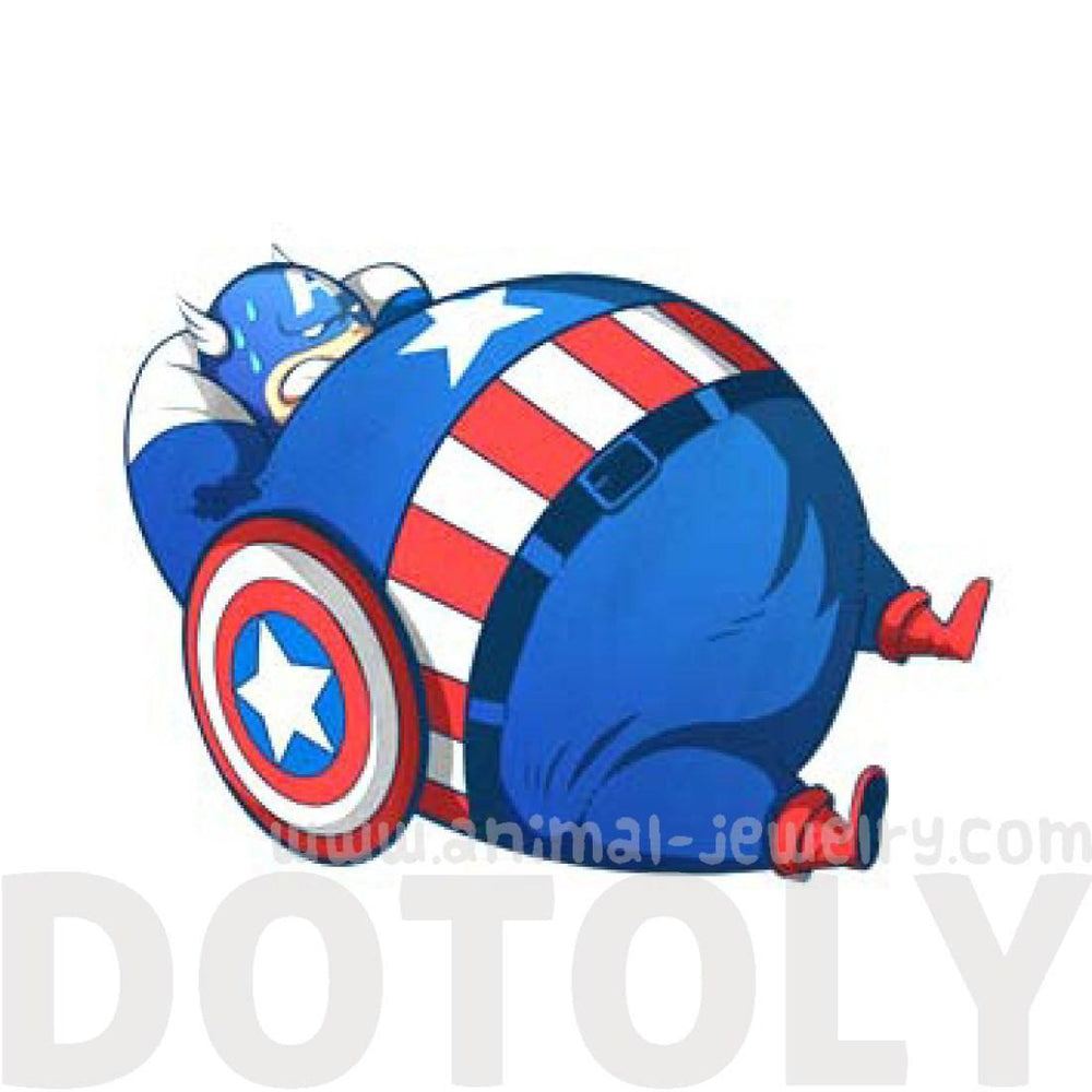 Chubby Captain America Avengers Sit-Ups Illustrated Canvas Tote Bag