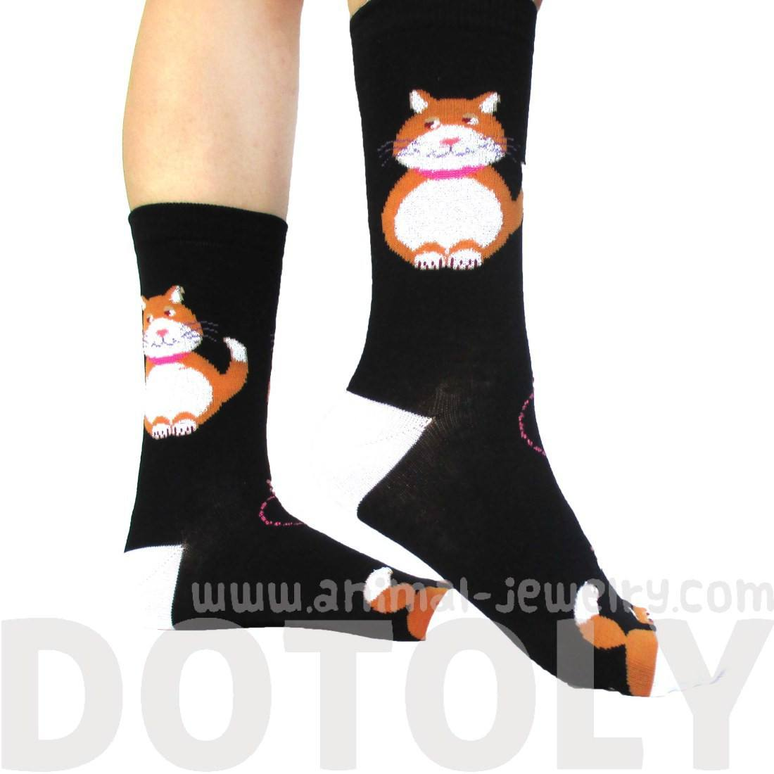 Chubby Kitty Cat and Mouse Novelty Print Long Socks for Women in Black