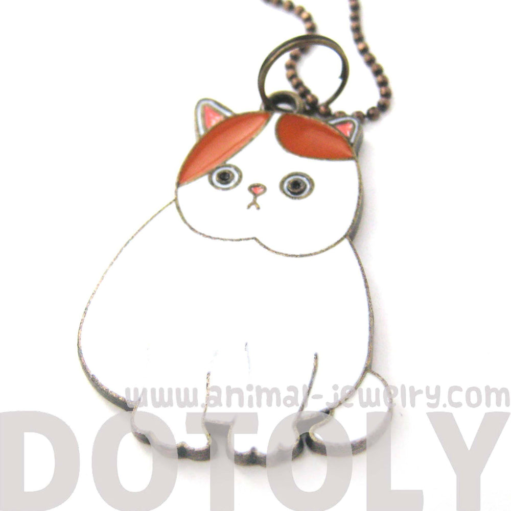 Chubby Kitty Cat Shaped Enamel Animal Pendant Necklace | Animal Jewelry