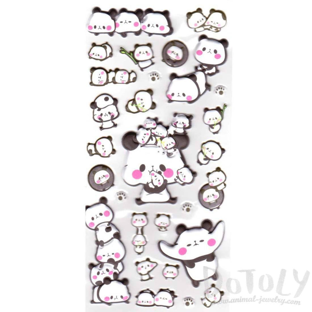 Chubby Panda Shaped Animal Themed Super Puffy Stickers