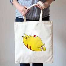 Chubby Pikachu Doing Sit-Ups Illustrated Canvas Tote Shopper Bag