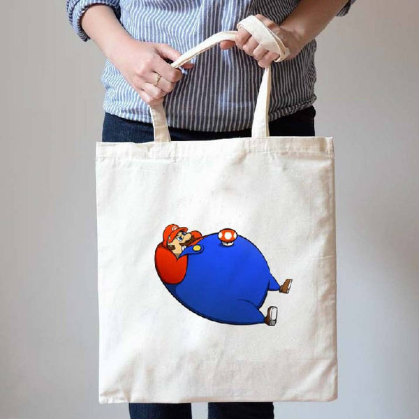 Chubby Super Mario Doing Sit-Ups Illustrated Canvas Tote Shopper Bag