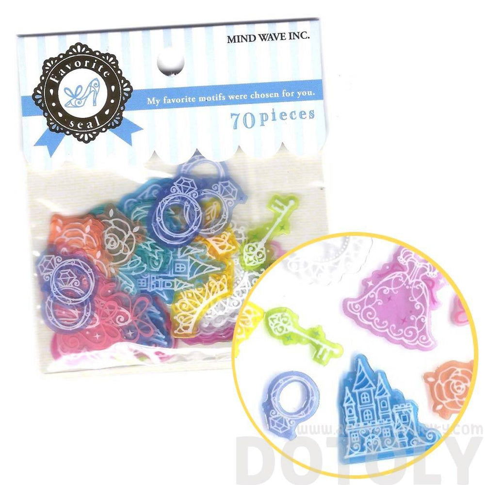 Cinderella Princess Themed Translucent Sticker Flake Seals From Japan