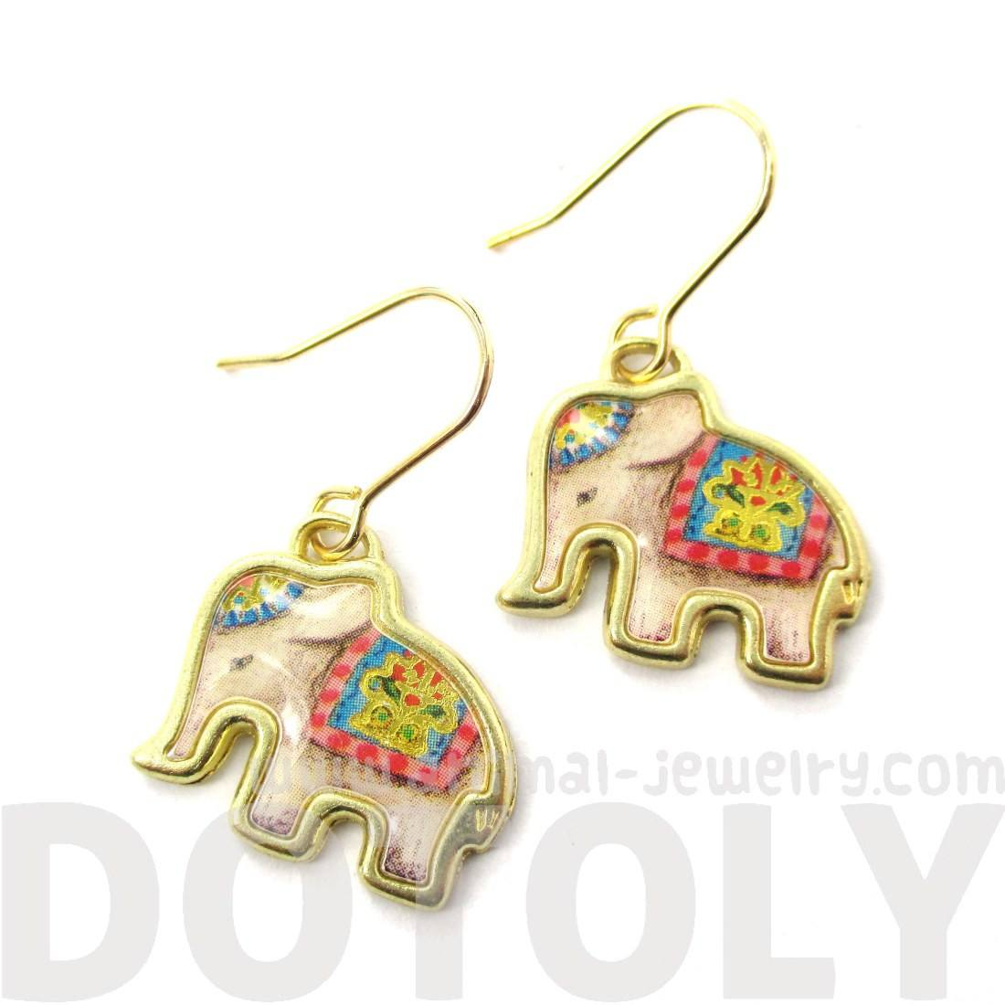Colorful Circus Elephant Shpaed Animal Dangle Earrings