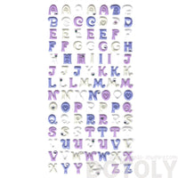 Classic Alphabet ABCs Shaped Puffy Fancy Typography Stickers in Purple