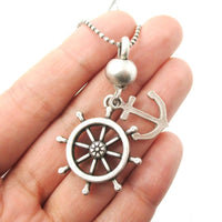 Anchor and Helm Shaped Nautical Themed Pendant Necklace in Silver