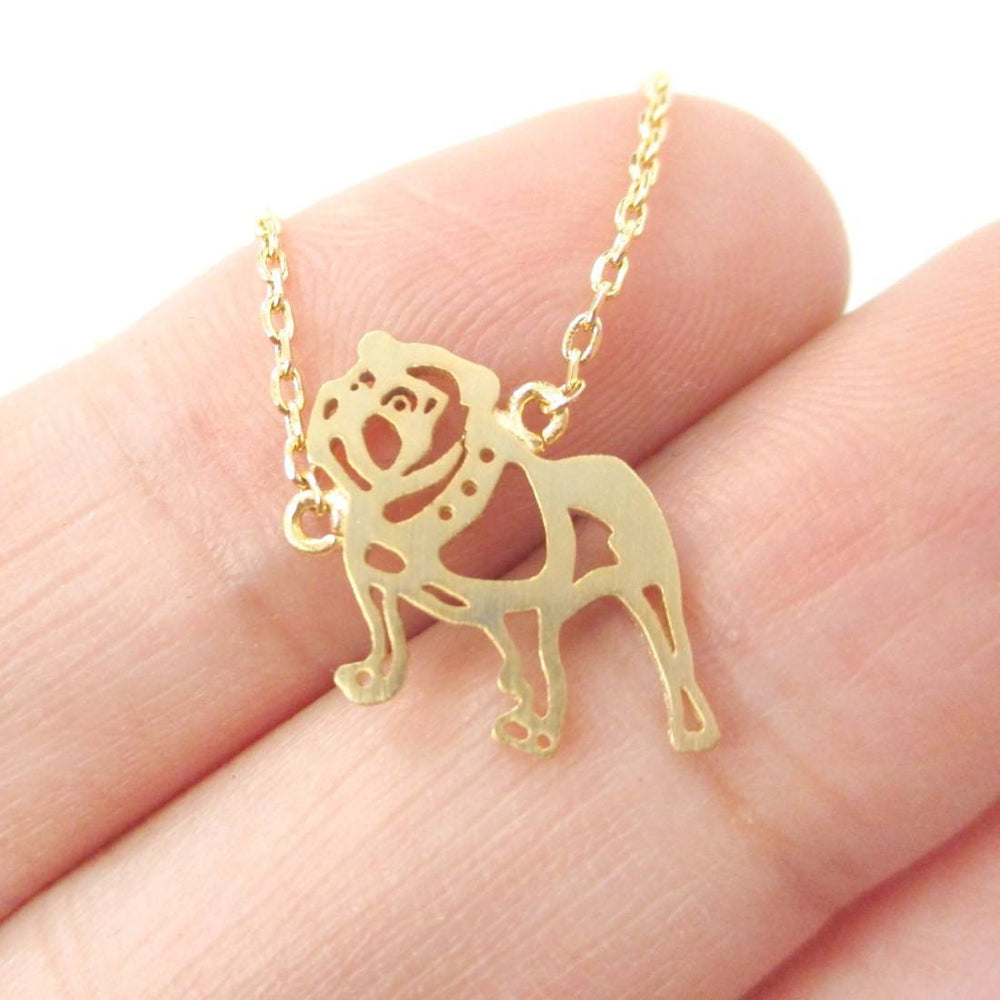 Classic Bulldog Cut Out Shaped Animal Pendant Necklace in Gold