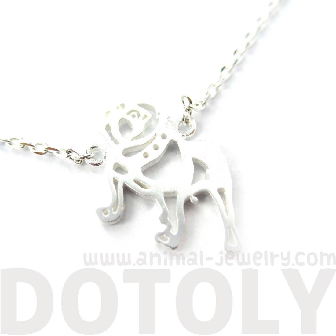 Classic Bulldog Cut Out Shaped Animal Pendant Necklace in Silver