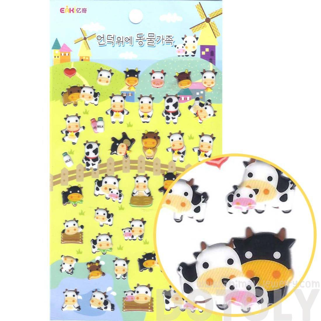 Cows Shaped Farm Animal Themed Puffy Sticker Seals Stationery Supplies