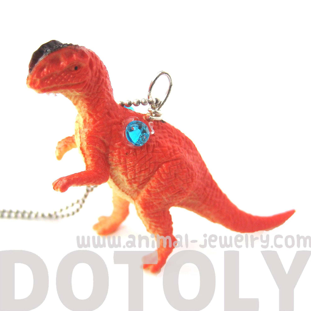 Classic Dinosaur Shaped Figurine Pendant Necklace in Red | Animal Jewelry