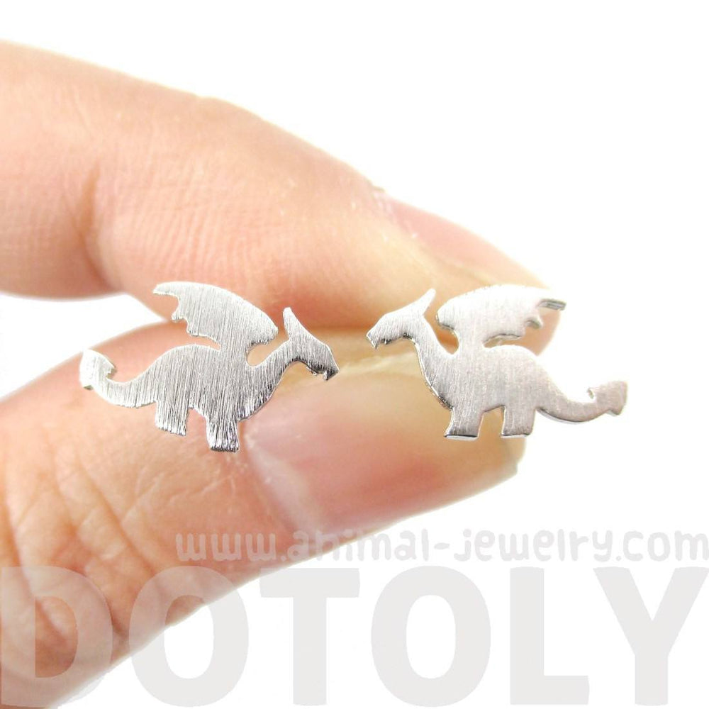 Classic Dragon Silhouette Shaped Allergy Free Stud Earrings in Silver