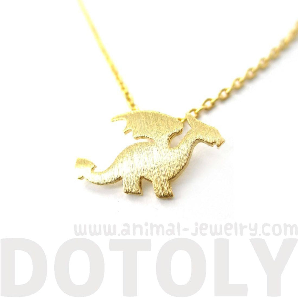 Classic Dragon Silhouette Shaped Animal Pendant Necklace in Gold