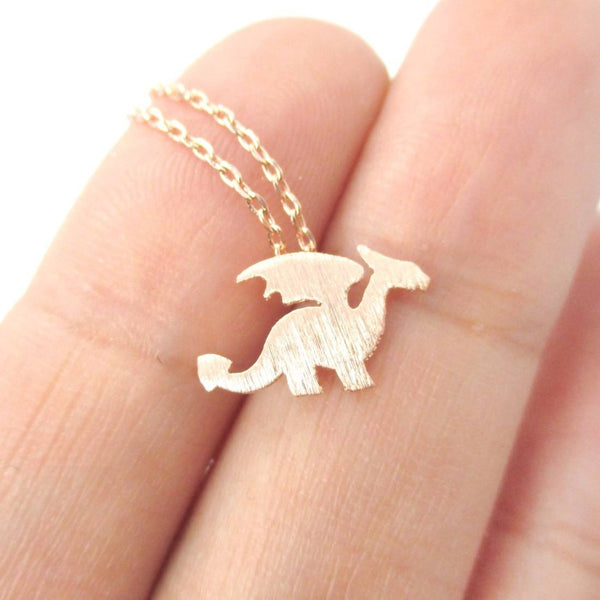 Classic Dragon Silhouette Shaped Animal Pendant Necklace in Rose Gold