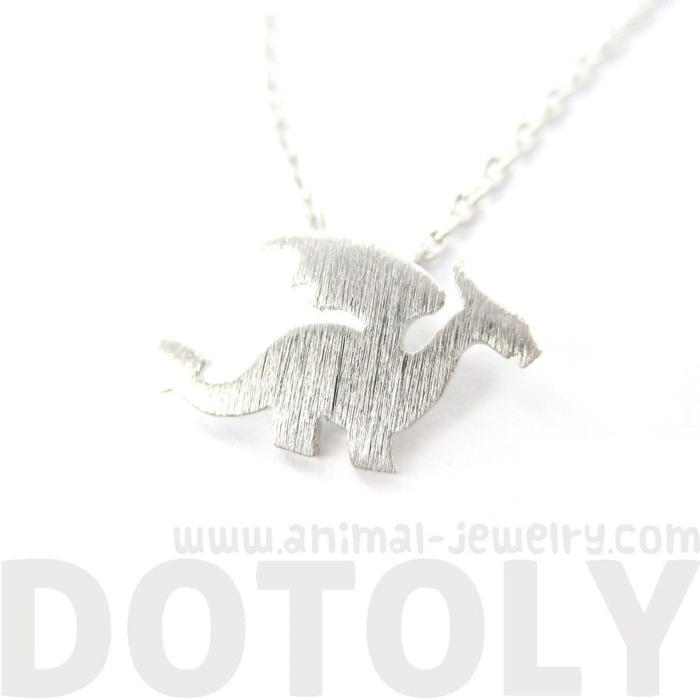 Classic Dragon Silhouette Shaped Animal Pendant Necklace in Silver