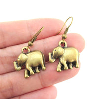 Classic Elephant Shaped Dangle Charm Earrings in Brass | DOTOLY