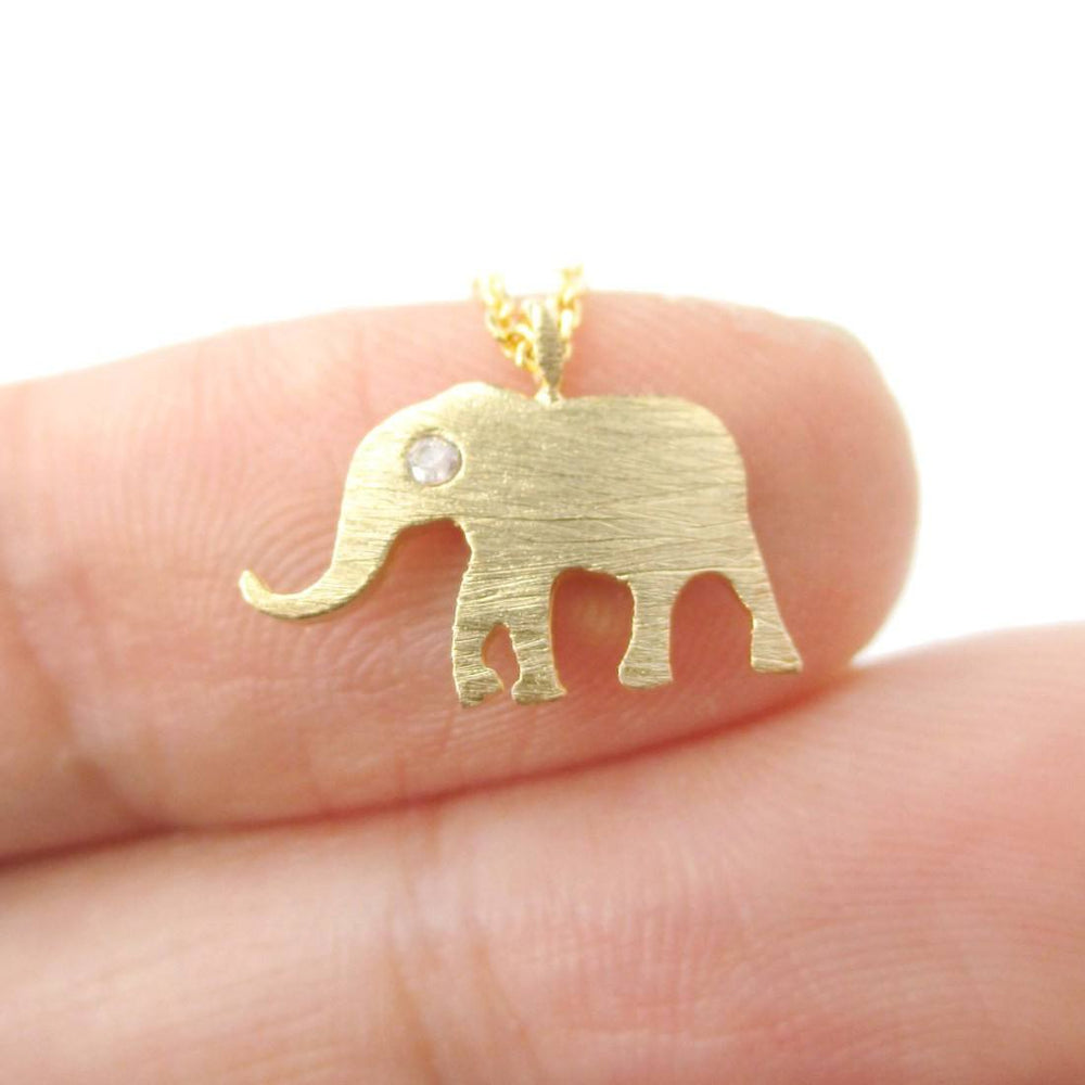 Classic Elephant Shaped Pendant Necklace in Gold | Animal Jewelry