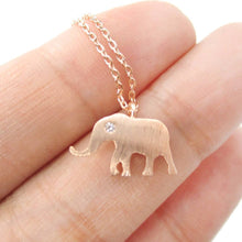 Classic Elephant Shaped Silhouette Pendant Necklace in Rose Gold