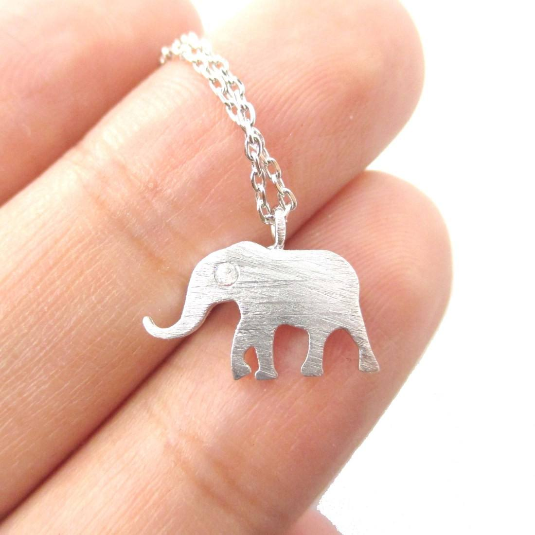 Classic Elephant Shaped Silhouette Pendant Necklace in Silver