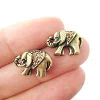 Classic Elephant Shaped Stud Earrings in Brass with Rhinestones