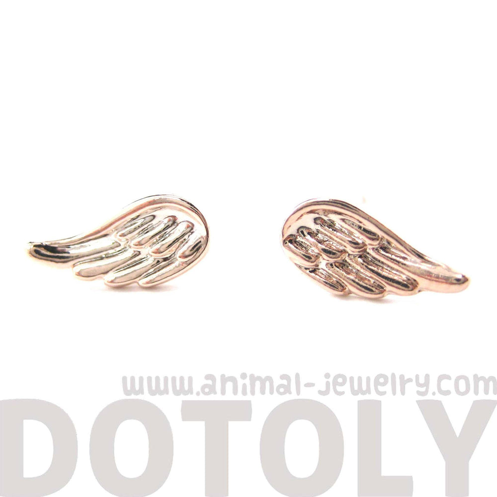 Classic Feather Shaped Angel Wing Stud Earrings in Rose Gold | DOTOLY | DOTOLY