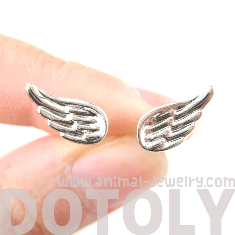 Classic Feather Shaped Angel Wing Stud Earrings in Silver | DOTOLY | DOTOLY