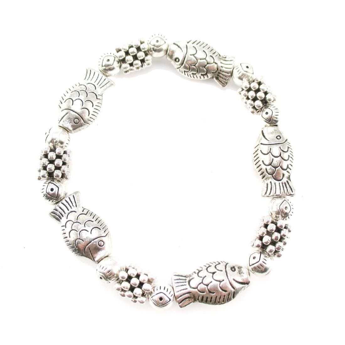 Fish Shaped Beaded Charm Stretchy Bracelet in Silver