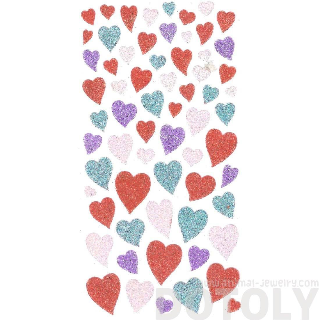 Classic Glittery Heart Shaped Shimmer Decorative Girly DIY Stickers