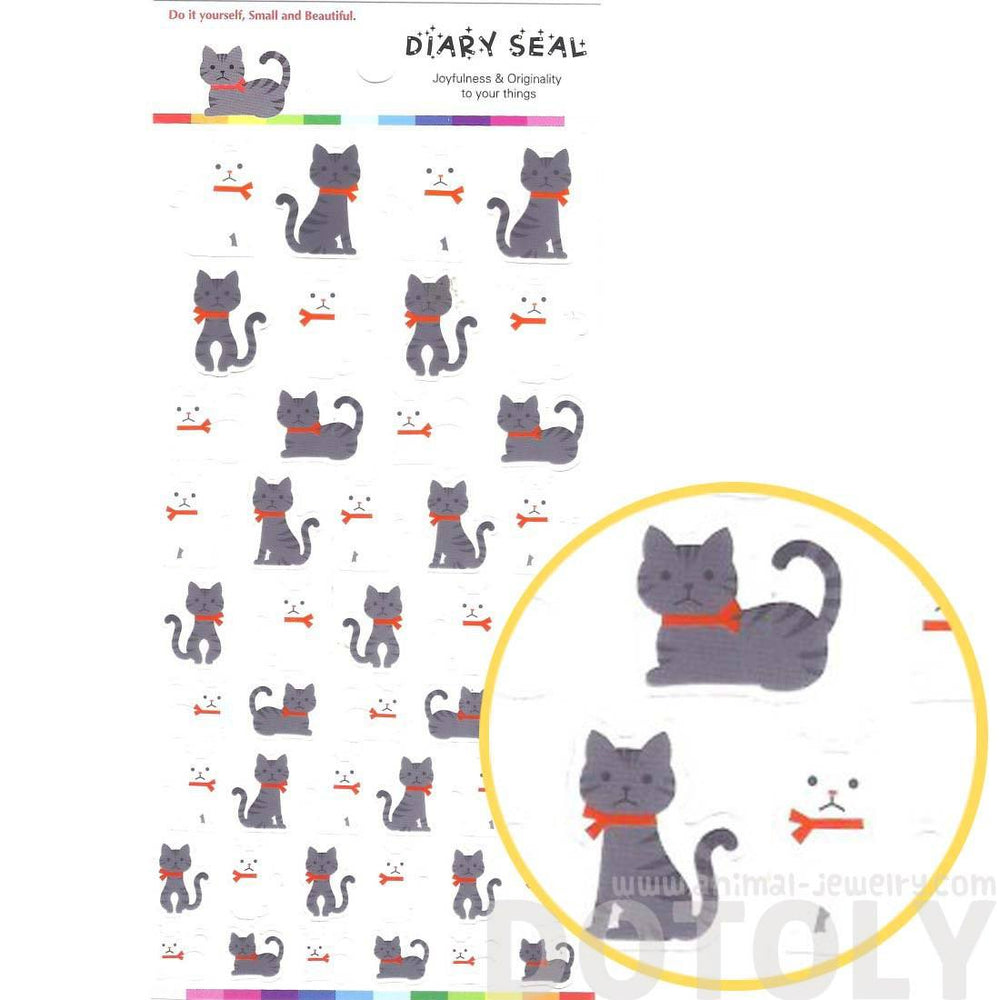 Classic Kitty Cat Shaped Animal Themed Stickers in Grey and White