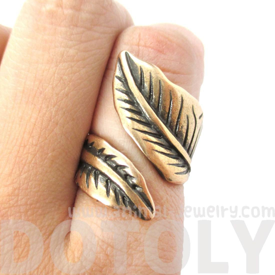 Classic Leaves Wrapped Around Your Finger Shaped Floral Ring in Bronze
