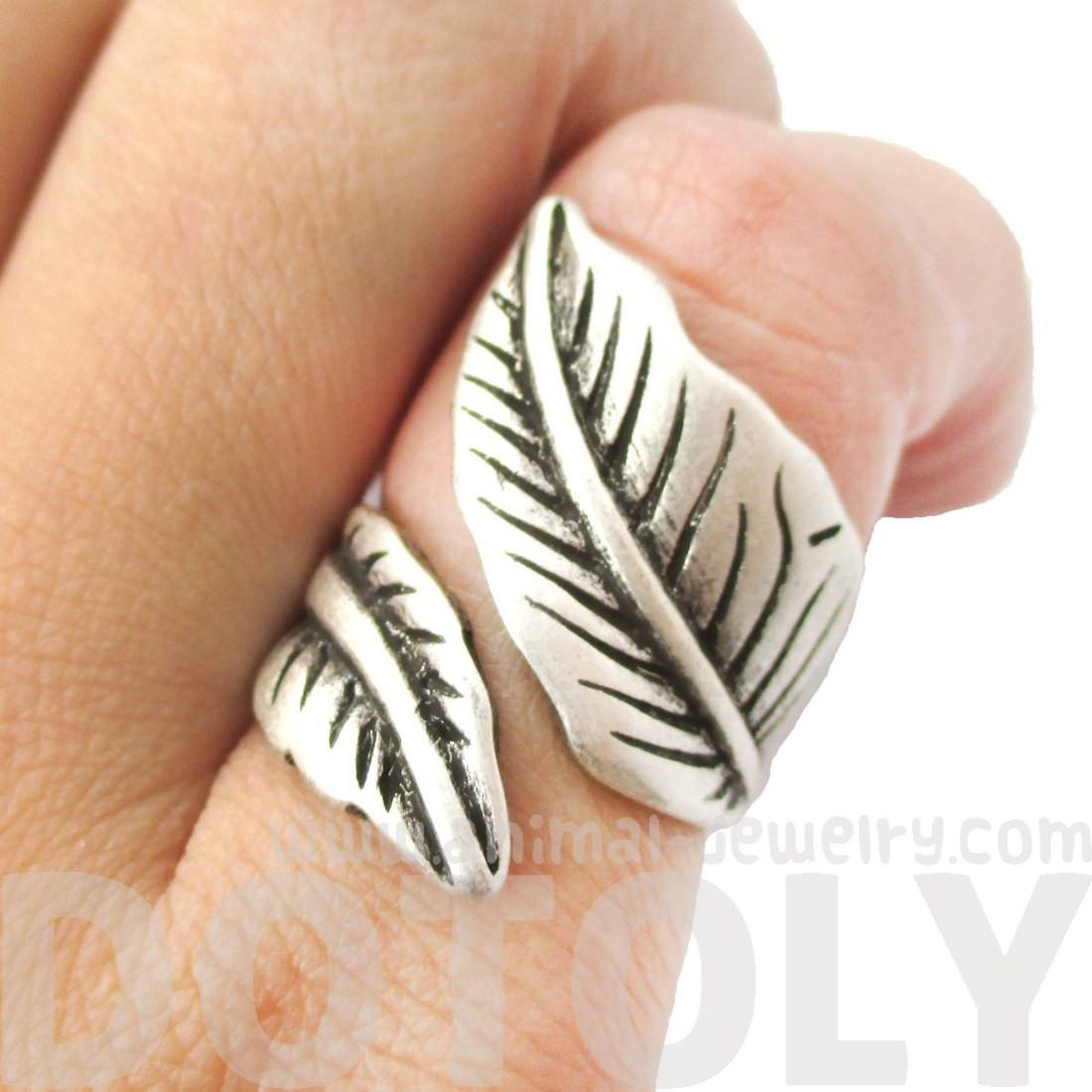 Classic Leaves Wrapped Around Your Finger Shaped Floral Ring in Silver